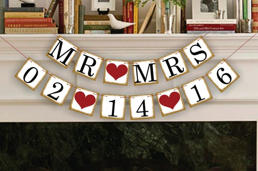 Mariage - MR MRS Save The Date Banner - Wedding Garland - Sign - Photo Booth Props