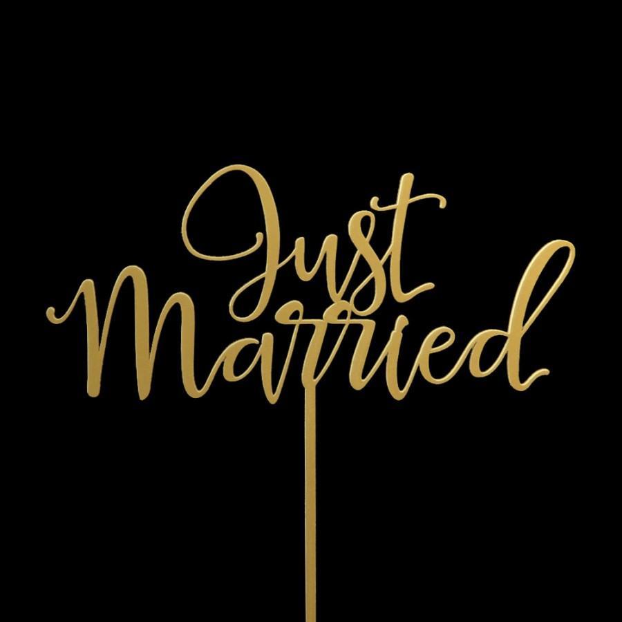 Mariage - Just Married Wedding Cake Topper -  Keepsake Wedding Cake Toppers