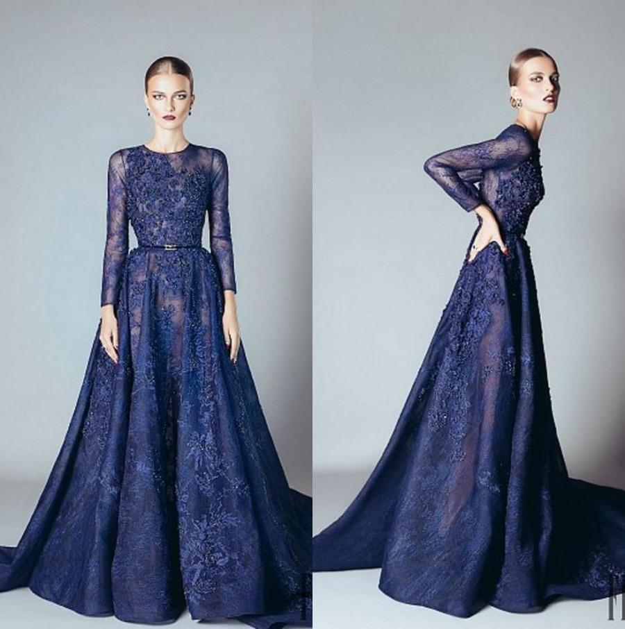Elie Saab 2016 Blue Beaded Appliques Long Sleeve Evening Dresses ...