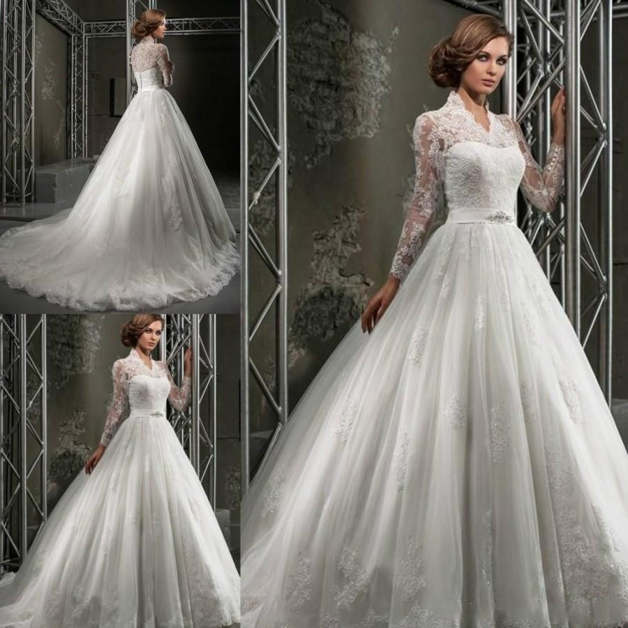 22e12a1a289 Custom Made Winter Lace Wedding Dresses Plus Size Ball Gowns V Neck Long  Sleeves Applique Beads Formal Church Wedding Gown Train Online with   111.52 Piece ...