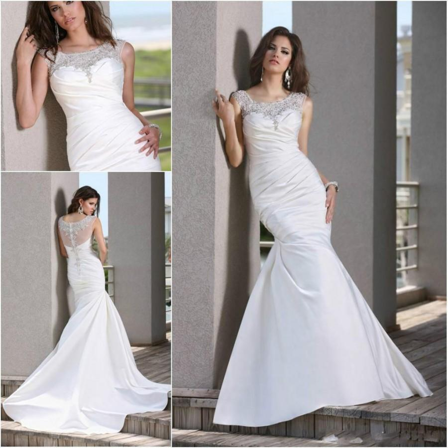 Wedding - Gorgeous Fitted Bodice Mermaid Sheer Wedding Dresses Illusion Sheer Draped 2016 Sweep Train Beads Sequins Satin Bridal Gowns Dresses Custom Online with $109.17/Piece on Hjklp88's Store