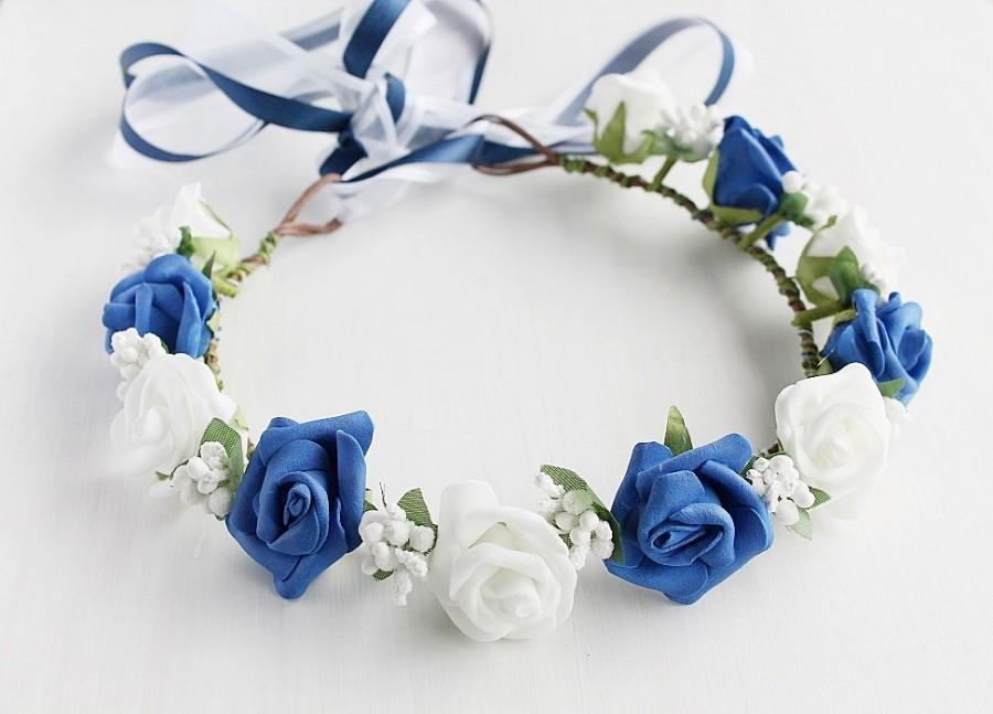 Mariage - Something Blue Bridal Crown, Royal Blue Girls Crown, Woodland Head Wreath, Blue Rose Crown, Flower Girl Halo, Rose Crown, Bridal Circlet