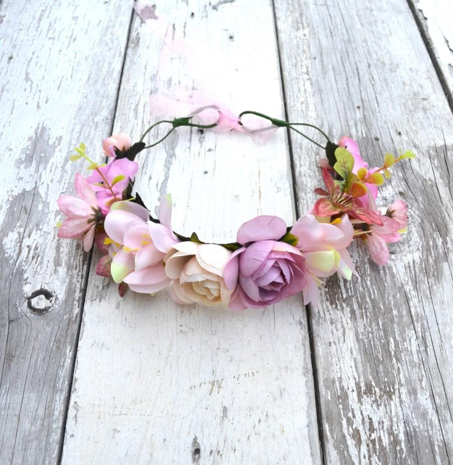 Свадьба - Pink Rose Floral Crown, Pink Flower Headband, Flower Crown, Wedding Headpiece, Bridesmaid headpiece, flower girl headband