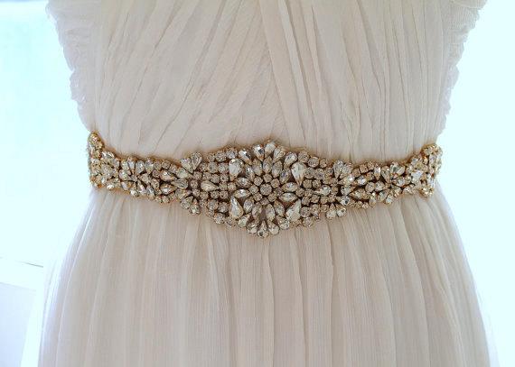 Свадьба - Gold Crystal Bridal Sash. Rose gold Rhinestone Beaded Applique Wedding Belt. Silver Bridal Belt. JEWEL CRYSTAL GOLD