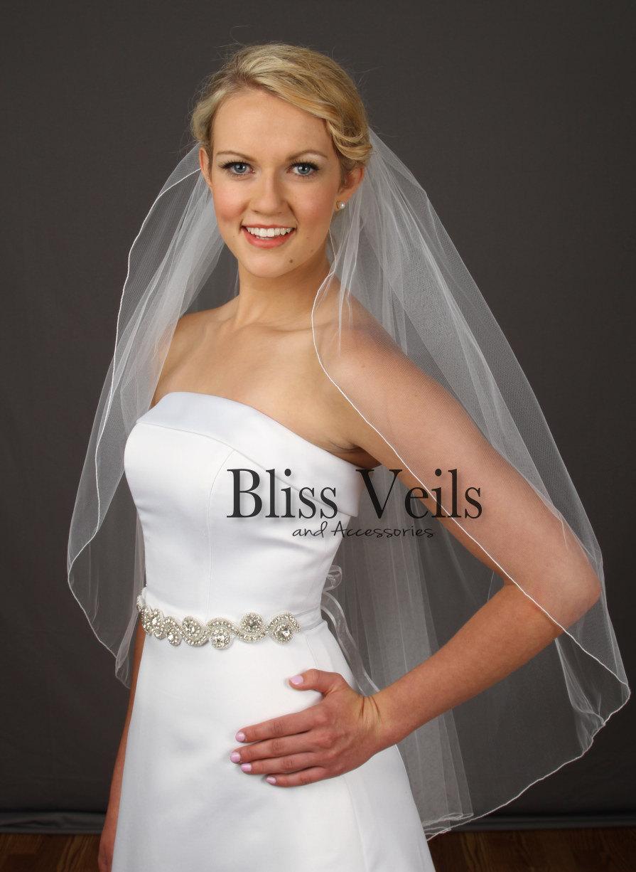 Свадьба - Fingertip Veil, One Layer Veil, Custom Wedding Veil