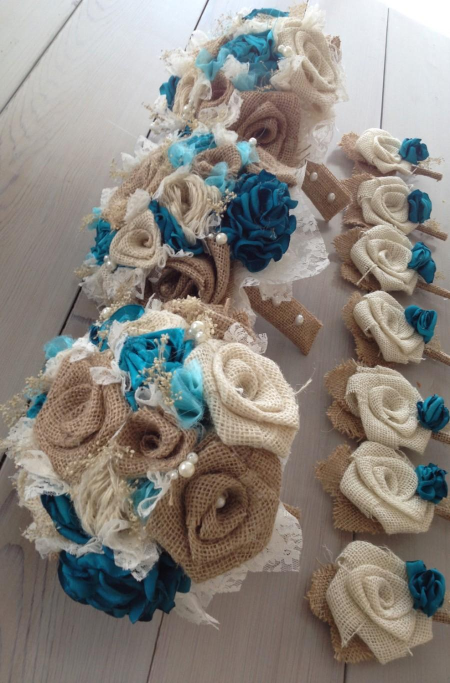 Mariage - Beautiful shabby chic bridal bouquets with turquoise silk and tan burlap(listing is for one bridal bouquet)