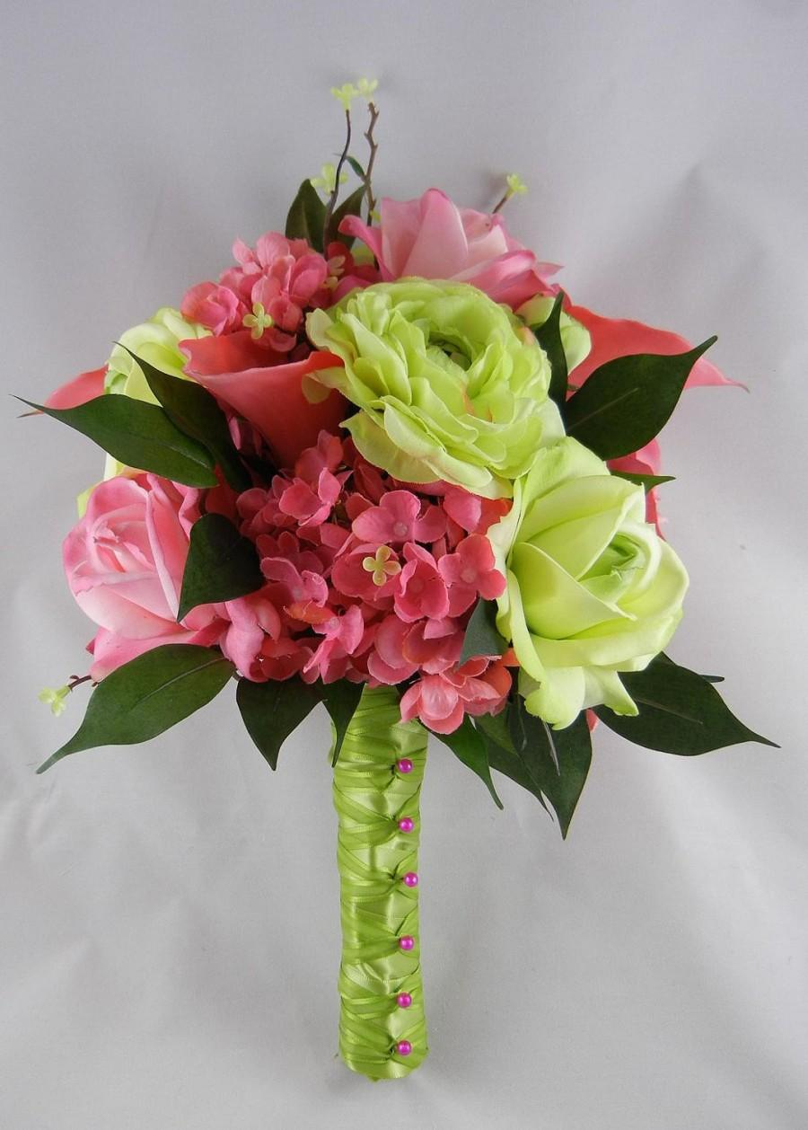 Mariage - Real Touch Hot Pink & Green Real Touch and Silk Bridal Bouquet