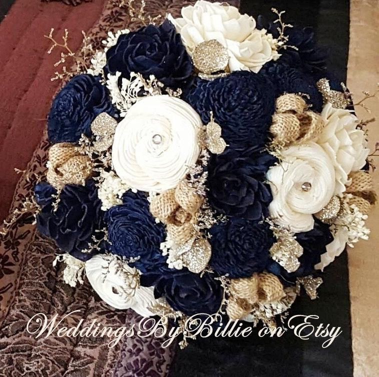 Mariage - Navy Blue Sola Bouquet, Blue Champagne Ivory Bouquet, Wedding Flowers, Rustic Shabby Chic,Bridal Accessories, Keepsake Bouquet, Sola Flowers