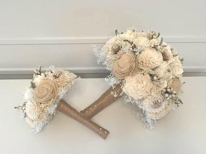 Свадьба - Rustic Wedding Bouquet made with sola flowers - Bridal bouquet - Alternative bouquet - bridesmaids - natural - made to order