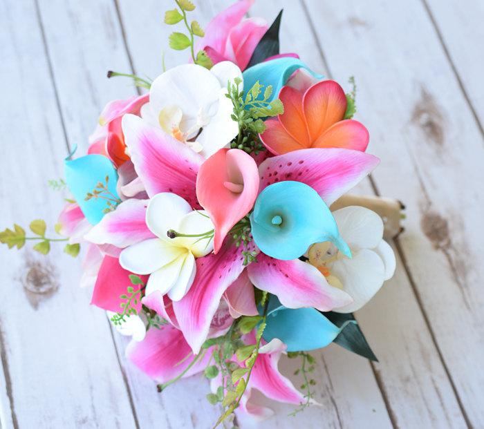 Wedding - Wedding Hot Pink, Coral and Turquoise Aqua Natural Touch Orchids, Lilies, Callas and Plumerias Silk Flower Bride Bouquet - Robbin's Egg Mint