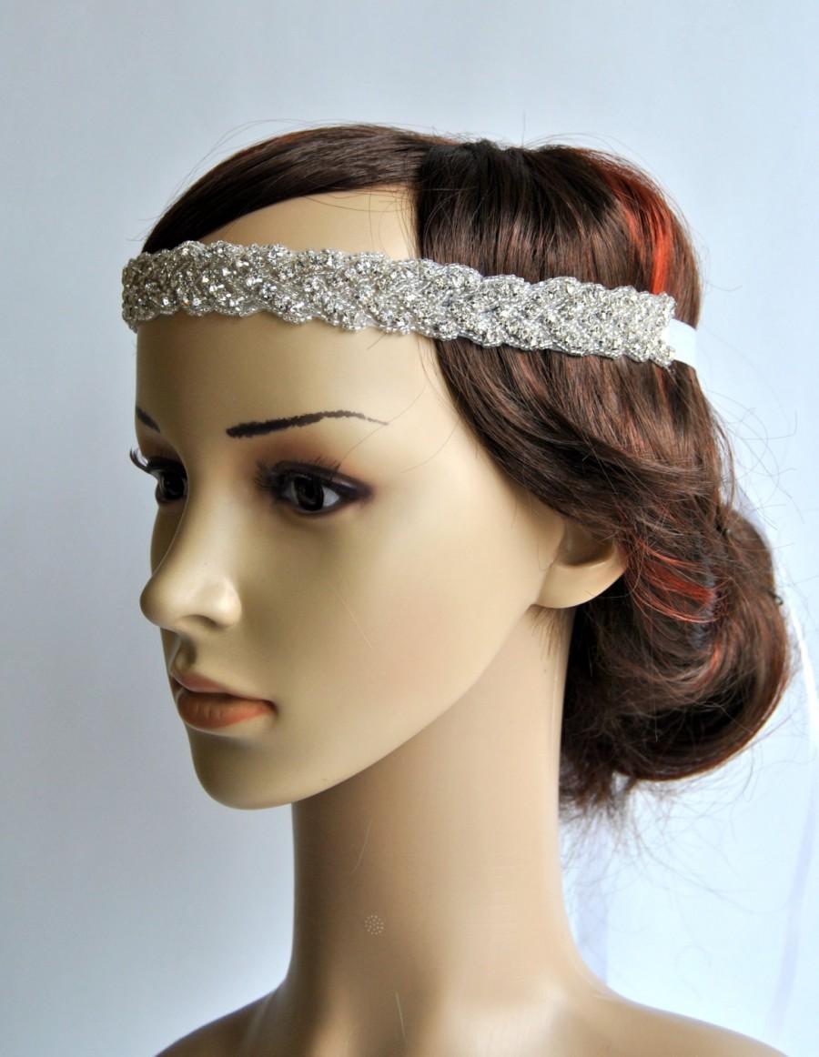 Свадьба - Gorgeous 1920s Flapper headband Rhinestone Headband, Wedding Headband, Crystal ribbon tie on Headband, Wedding Halo Bridal Headpiece