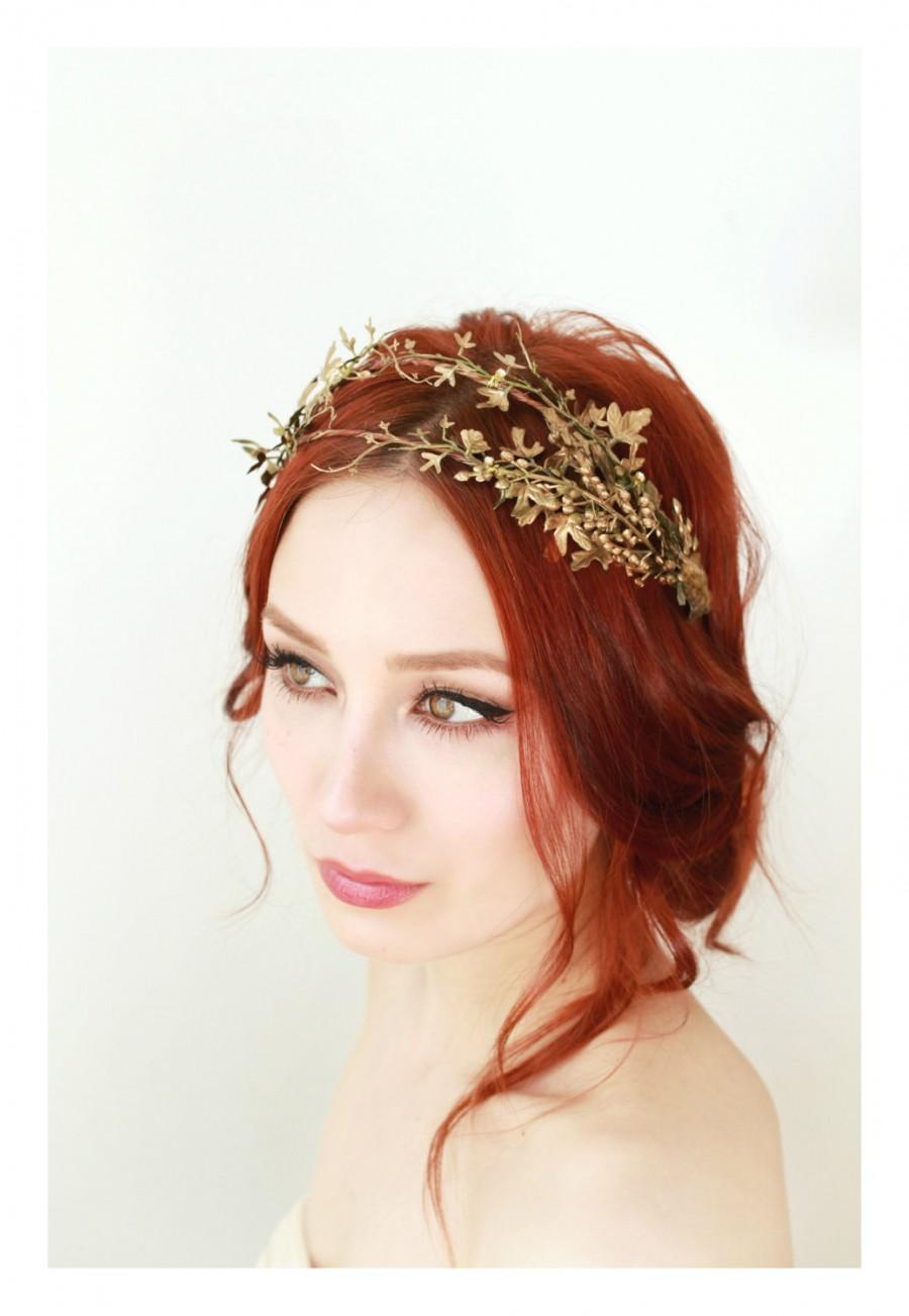 Golden Leaf Crown Bridal Hair Adornment Grecian Woodland Headpiece Natural Tiara Forest Whimsical Wedding Accessories