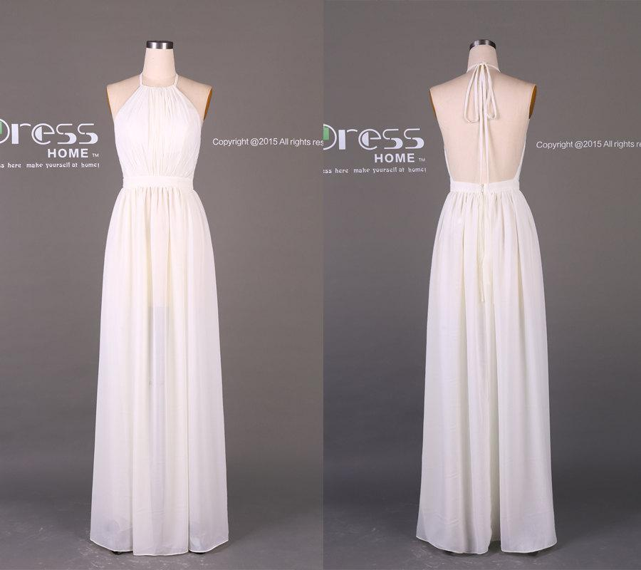 9a7ec94d016 Simple White Halter Prom Dress Long Open Back Prom Dress 2016 Sexy Party  Dress White Chiffon Prom Dress Long Party Dress DH211