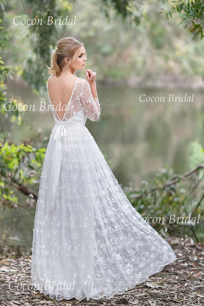 Wedding - Romantic Boho Wedding dress from Chiffon, Italian Lace ,Open V-back wedding dress Romantic and Dreamy Wedding Dress