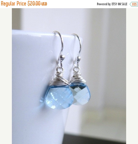 Свадьба - SALE 35% Off Swarovski Crystal Earrings Faceted Pale Blue Briolette Sterling BE12
