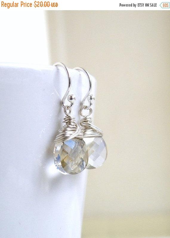 Свадьба - SALE 35% Off Swarovski Crystal Earrings Silver Briolette Sterling BE12