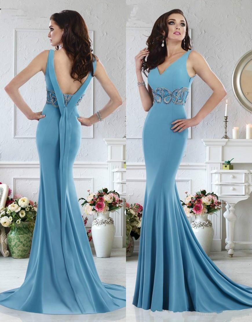 Sexy Janique Evening Dresses 2016 V Neck Sweep Train Backless ...