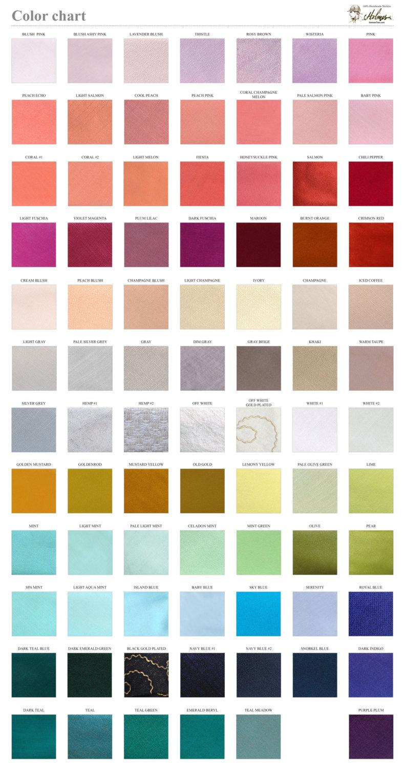 Mariage - Solid color chart / Fabric sample /  Wedding Ties