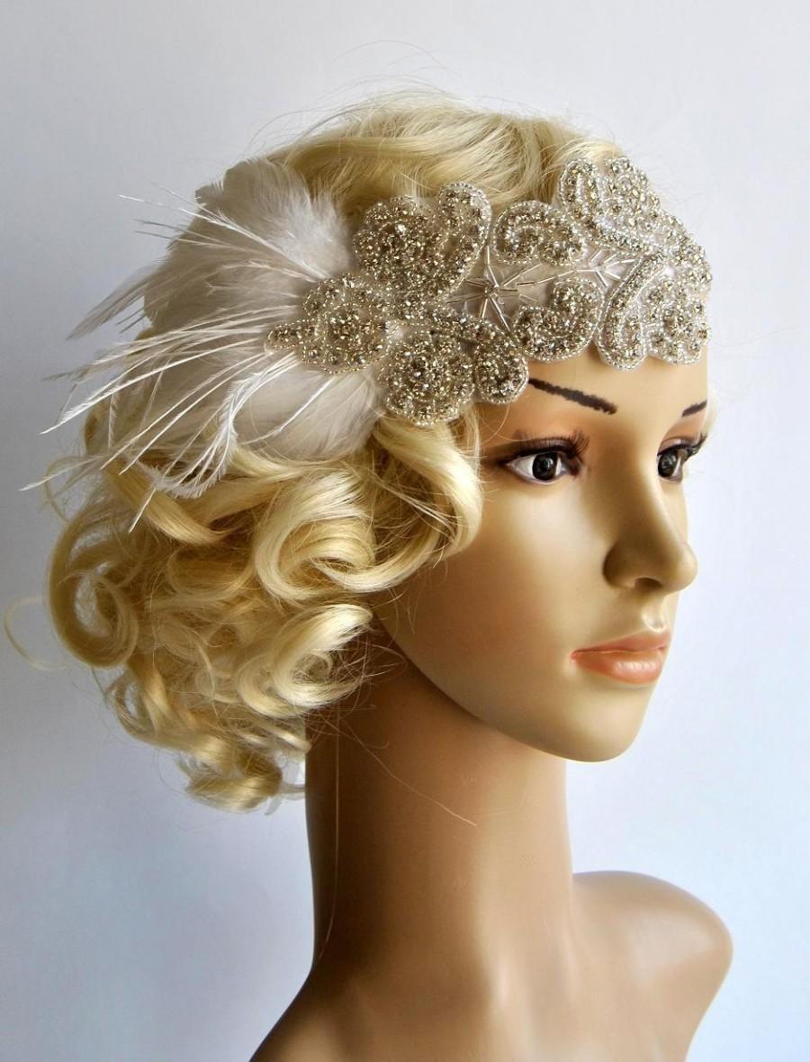 Mariage - Rhinestone flapper Gatsby Headband, Wedding Headband, Crystal Headband, Wedding Headpiece, Halo Bridal Headpiece, 1920s Flapper headband