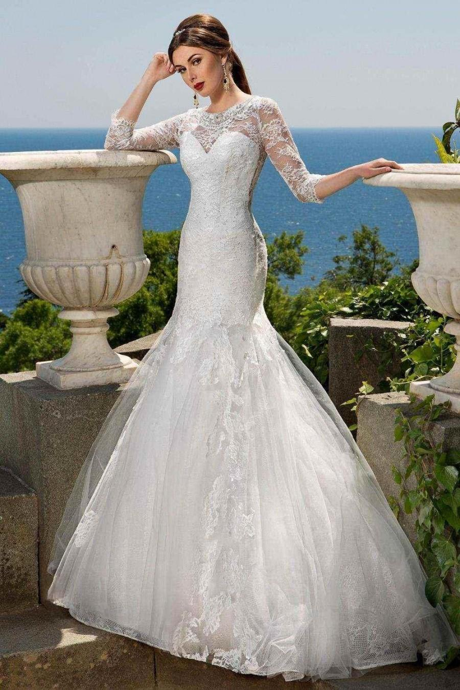 Stunning 3 4 Long Sleeve Mermaid Wedding Dresses Sheer Illusion Full Lace App