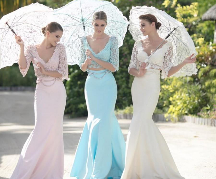 Mermaid Wedding Gowns With Sleeves: Fashion Tarik Ediz Lace Mermaid Evening Dresses Two Pieces
