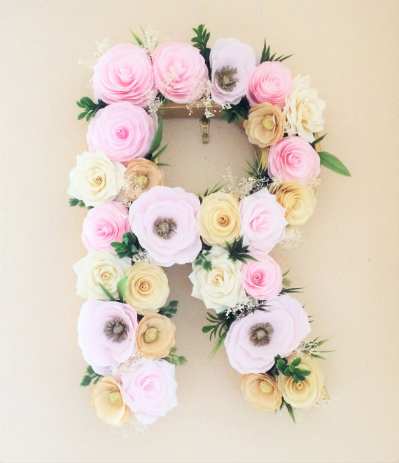 Floral Letter Large Paper Mache Letter Blush And Gold Paper Flower