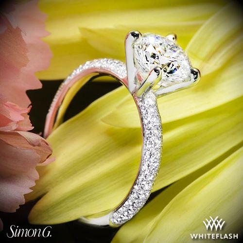 Mariage - Platinum Simon G. LP1935-D Delicate Diamond Engagement Ring