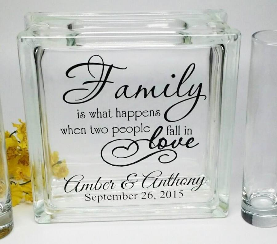 Mariage - Blended Family Wedding Sand Ceremony - Personalized - Beach Wedding Decor - Unity Candle Alternative -  Family Is What Happens When