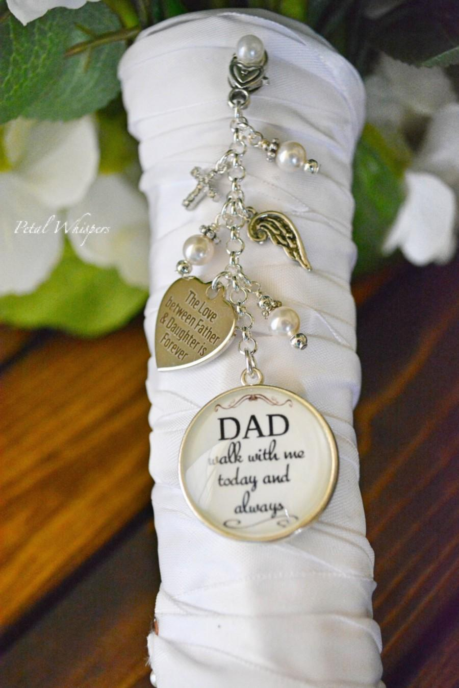 Mariage - Bridal Bouquet Charm-Wedding Bouquet Charm-Wedding Memorial-In Memory Of Dad-Bridal Gift-Gift For Bride-Walk With Me Dad