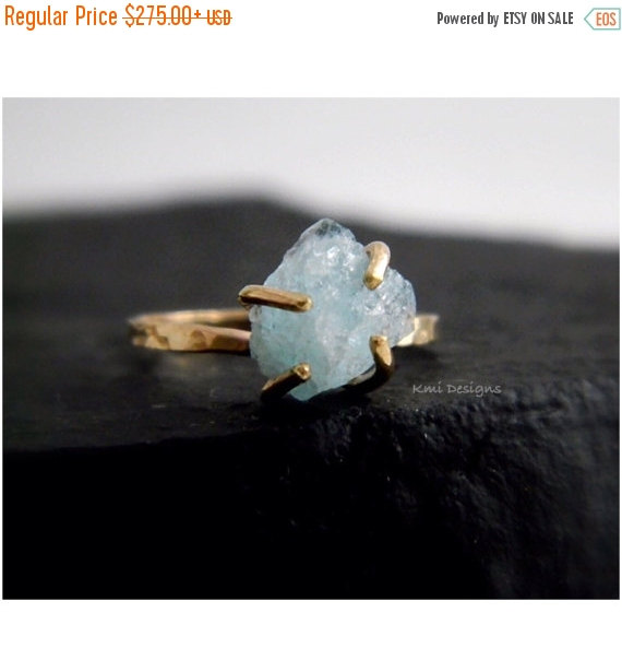 Свадьба - SPRING SALE Raw Aquamarine Solid Gold Ring, Engagement Ring, Raw Uncut Gemstone