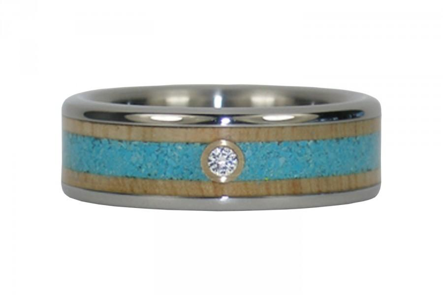 Свадьба - Turquoise and Wood Diamond Wedding Band