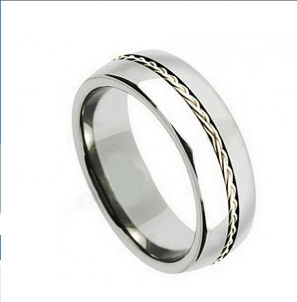 Свадьба - 8MM Domed Edge Comfort Fit Titanium Ring Grooved Braided Twisted Rope Sterling Silver Inlay Men's Wedding Engagement Anniversary Ring Band