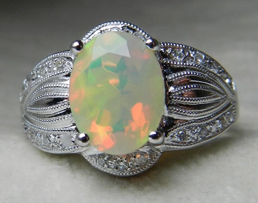 Свадьба - Opal Engagement Ring Art Deco Style Diamond Halo Opal Ring 1.32 Ct Natural Opal Oval Faceted Opal 18k White Gold Opal Cocktail Ring
