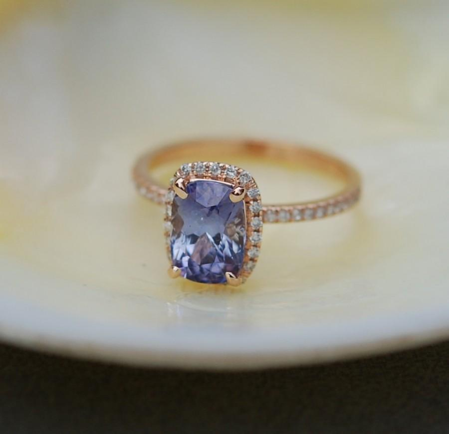 Свадьба - Rose gold sapphire ring. 2.13ct Blue violet sapphire diamond ring 14k rose gold cushion engagement ring