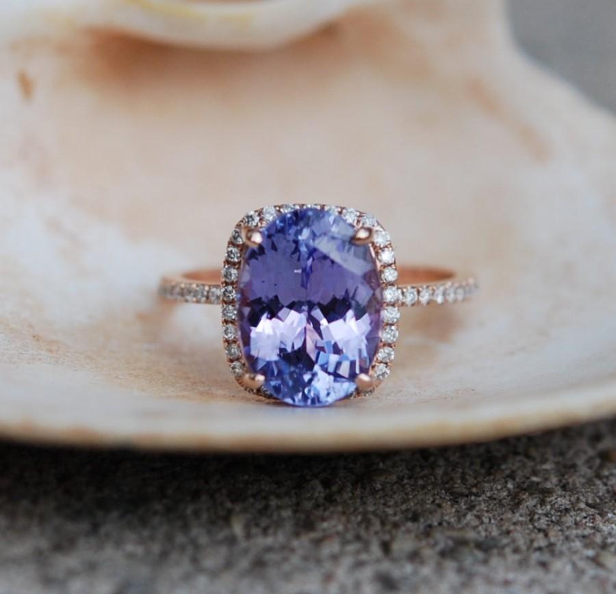 Свадьба - Tanzanite Ring. Rose Gold Engagement Ring Lavender Lilac Tanzanite emarald cut halo engagement ring 14k rose gold.