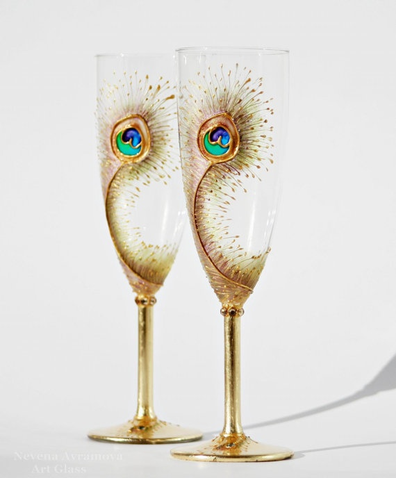 goldy peacock feathers wedding toasting champagne flutes hand painted set of 2 2484153 weddbook. Black Bedroom Furniture Sets. Home Design Ideas