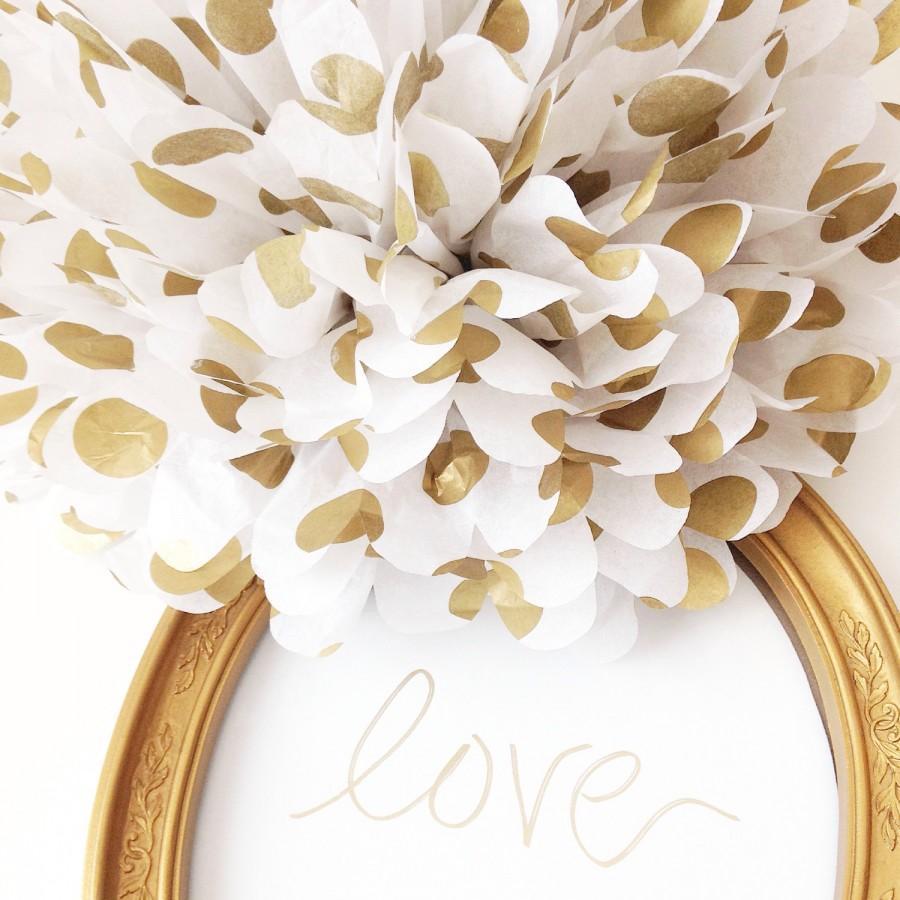 Metallic Home Decor Gold Polka Dot Pom Poms Weddings Metallic Gold Polka Dots