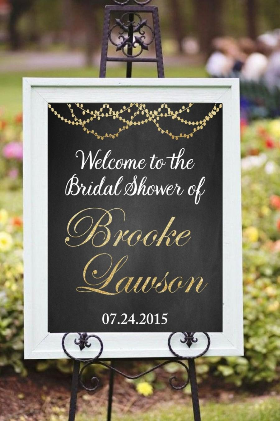 Mariage - Welcome Bridal Shower printable decor, Modern chalkboard style, Bridal shower decorations, Wedding decorations, DIY, Golden glitter