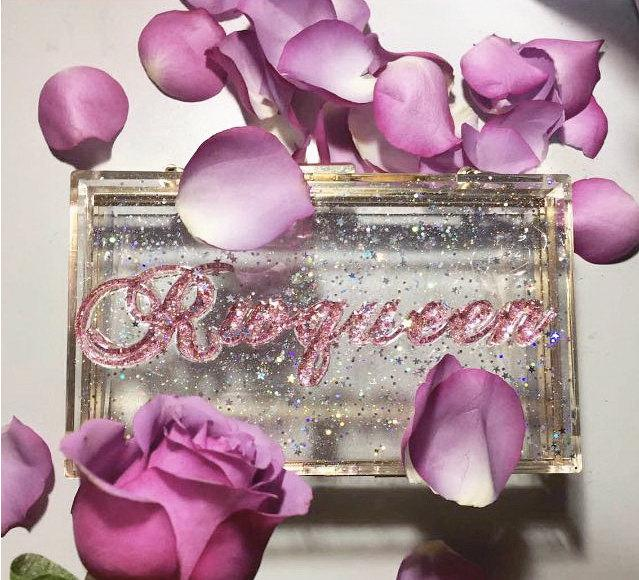 Personalized Nameplate Clutch Customized Floralcustomized Acrylic Wedding PurseBridal Gatsby Tullegifts For Herboho
