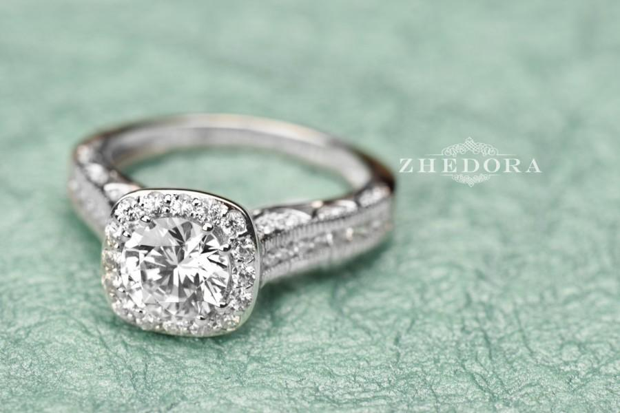 Свадьба - 2.80 CT Engagement Ring Round Cut halo 14k SOLID White Gold Bridal Band Unique Bridal Band, Lab Created Diamond Filigree band