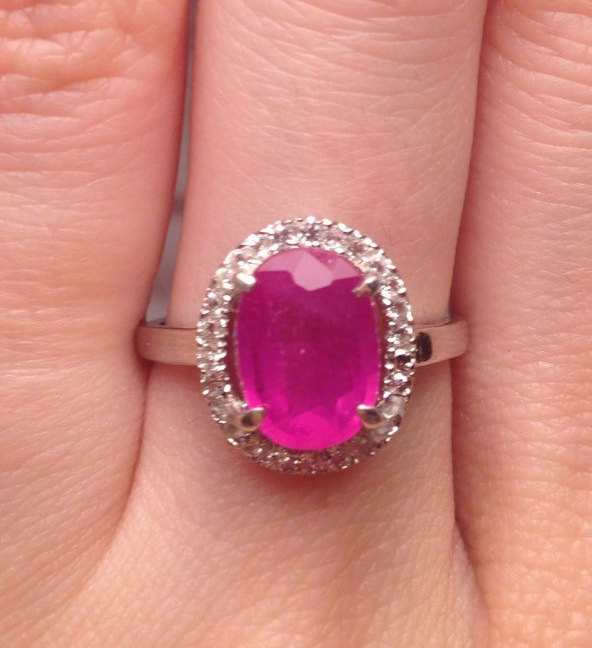Mariage - Ruby And Colorless Topaz Platinum Over Sterling Silver Ring Size 6.5 Vintage Gift for engagement, wedding, birthstone, gemstone ring,  ring