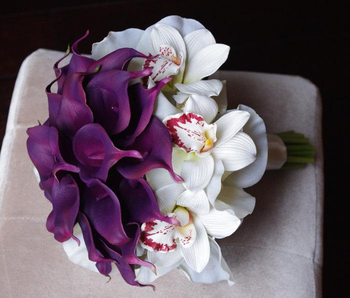 Hochzeit - Silk Purple Calla Lilies and Off White Cymbidium Orchids Bouquet Ready to Ship Wedding Natural Touch Flowers