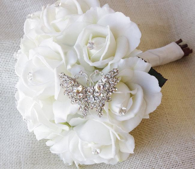 Mariage - Spectacular Butterfly Brooch Wedding Bouquet - Silk White Roses & Jewel Bride Bouquet - Natural Touch Roses