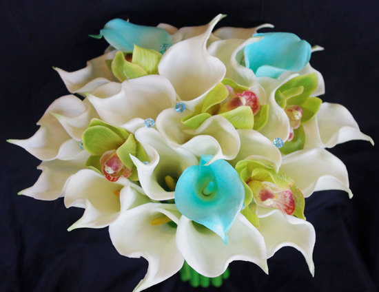 Boda - Silk Flower Wedding Bouquet - Aqua Turquise Mint Blue and Green Calla Lilies and Orchids Natural Touch Silk Bridal Bouquet
