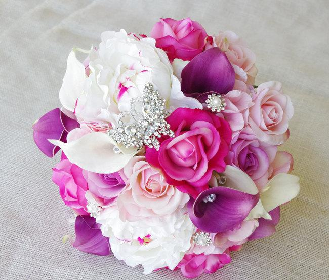 Свадьба - Wedding Purple Mix of Fuchsia, Pink and Lilac Natural Touch Peonies, Callas and Roses Silk Flower Bride Bouquet