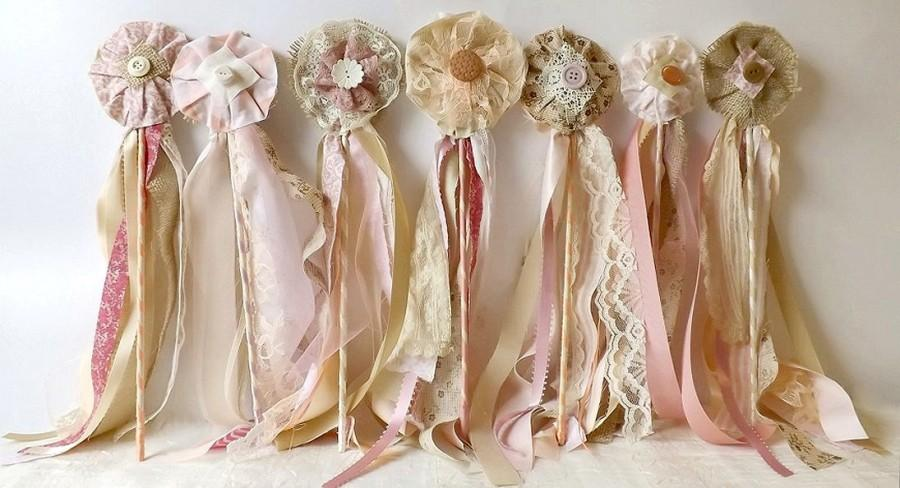 12 Wedding Flower Wands, Flower Girl Or Bridesmaid Country Chic ...