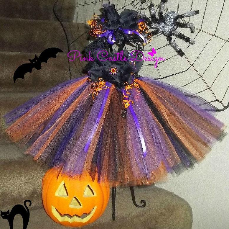 زفاف - Halloween Outfit Orange Tutu PurpleDress Infant Halloween Costume Newborn Baby Girl Tutu Toddler Dress Handmade Infant Dress Witch Costume