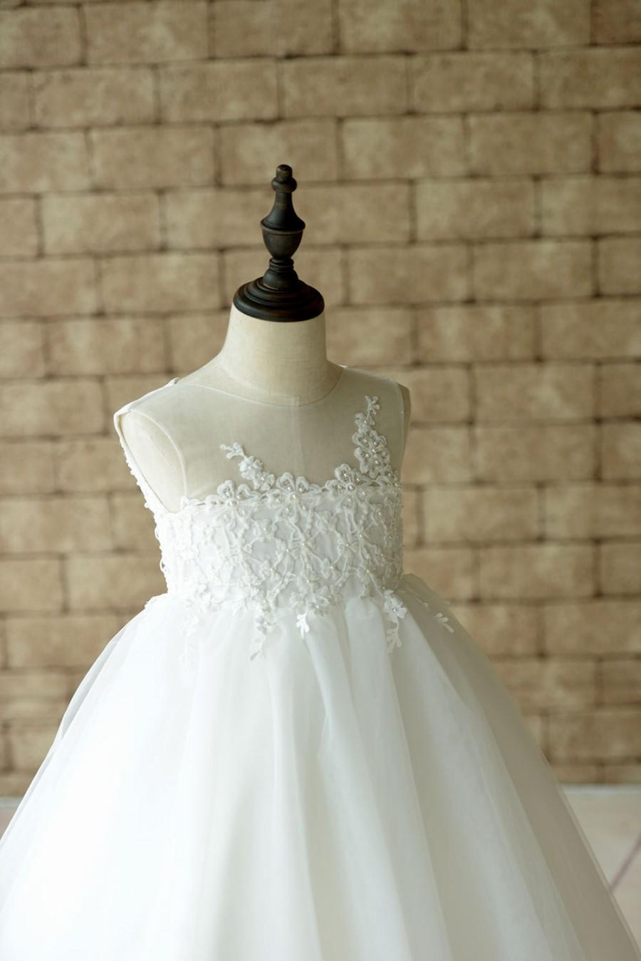 Wedding - Sheer Lace Strapless Neckline Flower Girl Dress Ball Gown with Pearls