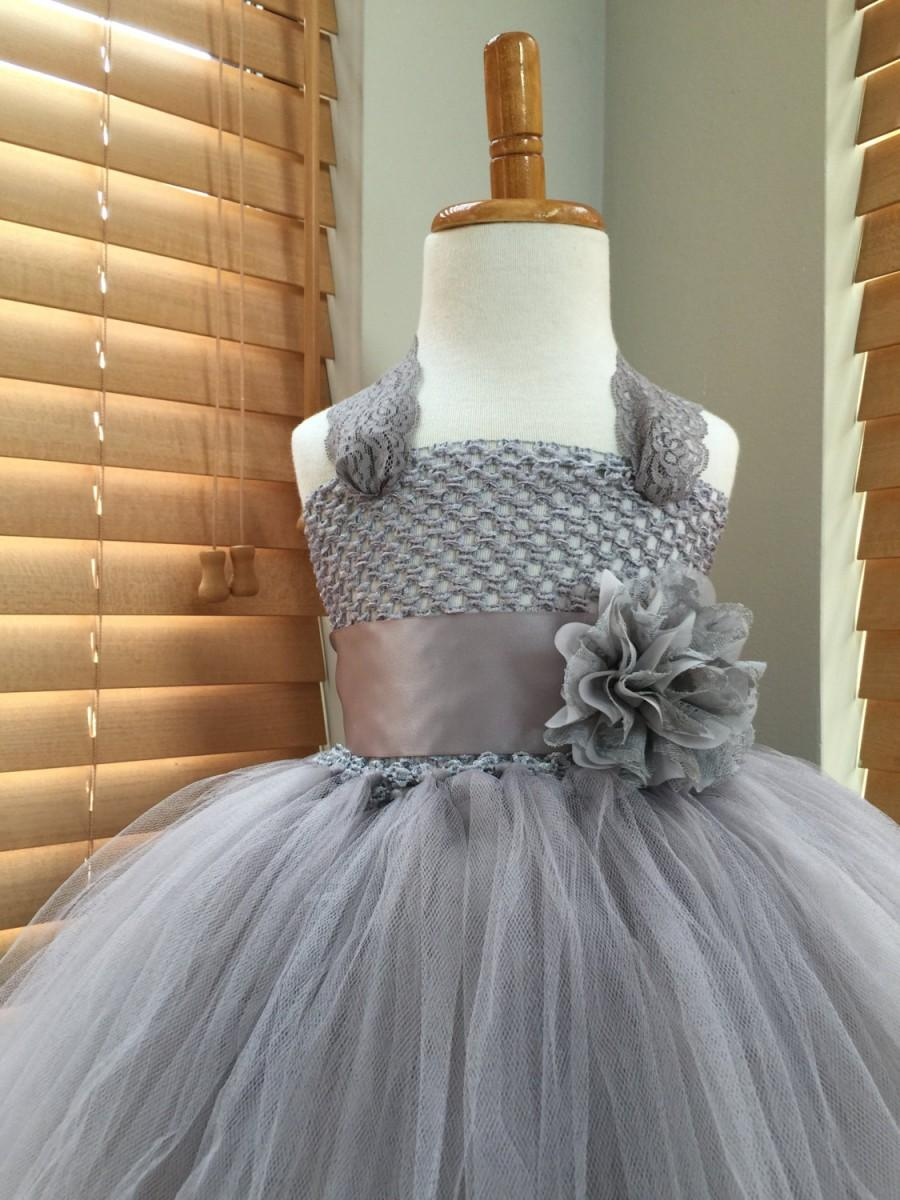 Gray Silver Flower Girl Lace Tutu Dress, Flower Girl Dress, Wedding ...