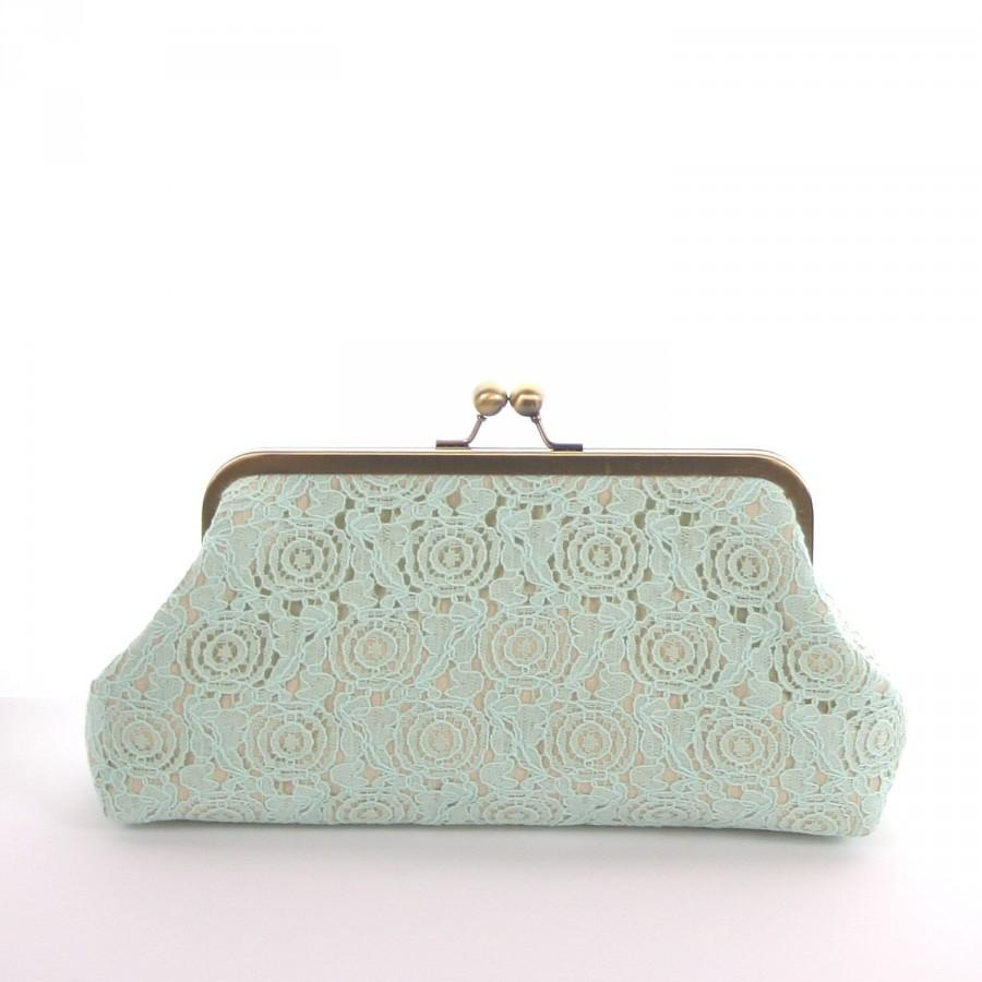 Mariage - Mint Green Lace Clutch, Mint Bridesmaid Clutch, Mint Green Bridal Party Purse